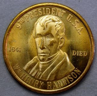 Wm Henry Harrison 9th President Of The U.  S.  A.  Brass Collectors Token. . .  10612 photo