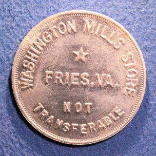 Rare Virginia Cotton Mill Token - Washington Mills Store,  50¢,  Fries,  Va. photo