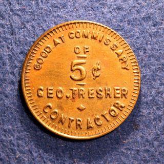 Unlisted Nebraska Token - Geo.  Tresher,  Contractor,  5¢,  Omaha,  Neb. photo