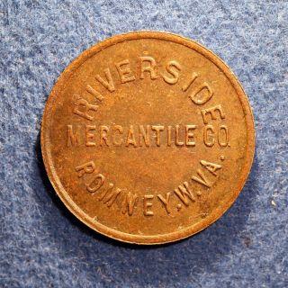 R10 West Virginia Coal Scrip Token - Riverside Merc.  Co. ,  10¢,  Romney,  W.  Va. photo