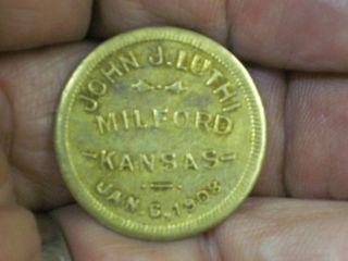 Good For 25c In Trade Token Milford Kansas Ks John J.  Luthi Jan 1908coin photo
