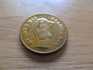Heads Or Tails Adult Peep Show Brass Fliping Token Jt3 photo
