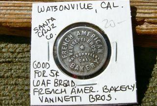 1900 Watsonville California Santa Cruz French American Bakery Vaninetti Bro Tokn photo