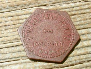 1900s Everett,  Wa Washington (snohomish Co) Pennant Hewitt Ave Red Fiber Token photo