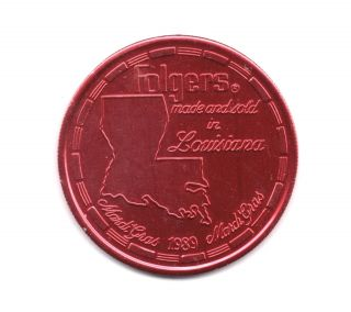 Folgers Coffee 1989 Louisiana Coffee Advertising Coin photo