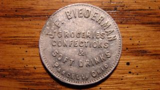J.  F.  Biederman Groceries Confections & Soft Drinks Parrell,  Ohio Oh 5¢ Token photo