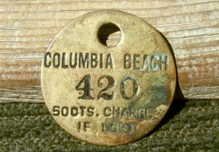 1900s Columbia Beach Washington Wa (island Co Clinton - Mukilteo) Old Brass Check photo