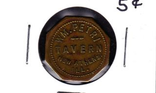 Unlisted Athens,  Illinois 5 Cents Tavern Token photo
