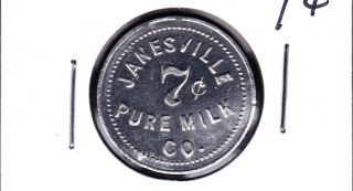 Scarce Janesville,  Wisconsin 7c Milk/dairy Token photo