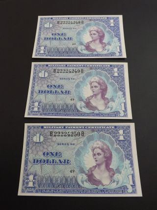 3x Series 661 Unc $1 One Dollar Military Payment Certificate S&h Us & Ca photo