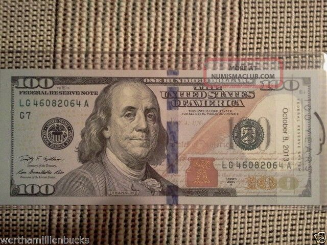 Rare - $100 Bill - Uncirculated Direct From Chicago Frb, Cool Serial