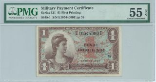 Mpc Military Payment Certificate Series 521 $1 Currency Pmg 55 Epq Au Note 000e photo