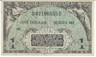 Series 481 Mpc Military Payment Certificate $1 Currency Note 1951 - 54 Rare 555d photo