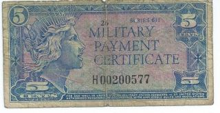 Mpc Military Payment Certificate Series 611 5 Cents Replacement Currency 577 photo