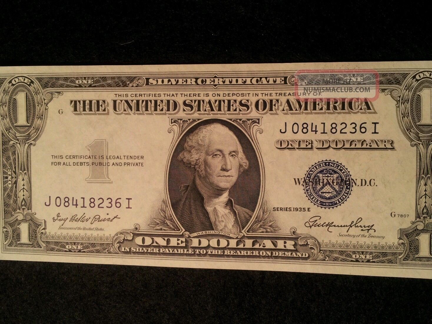 1 One Dollar Us Silver Certificate 1935e Priest Anderson Fr 1614
