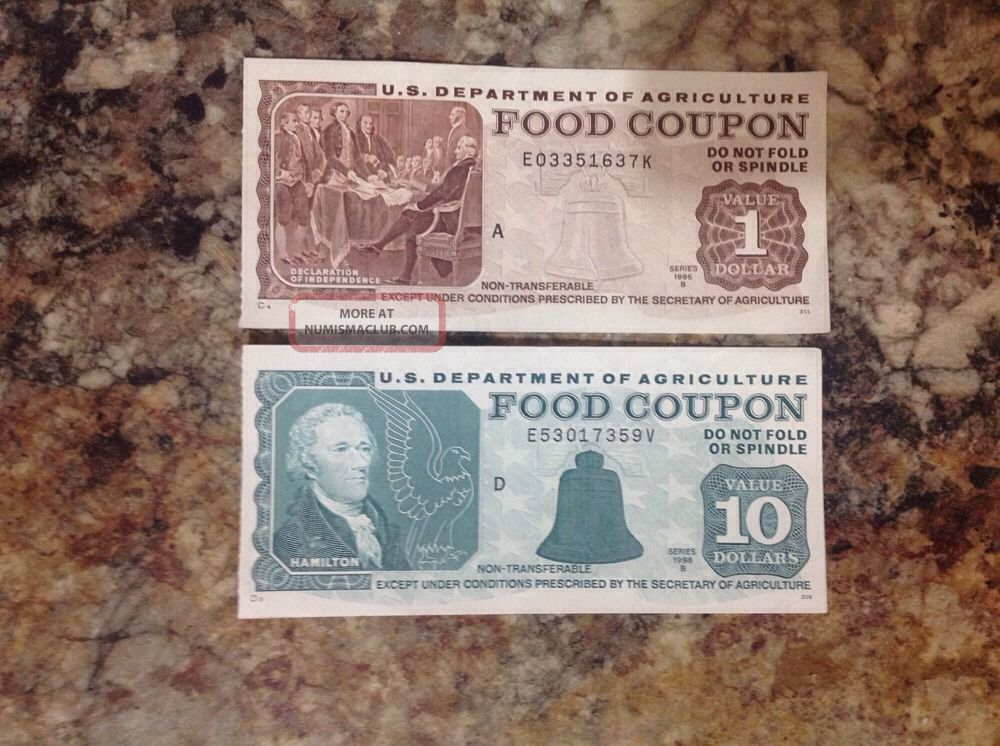 Real $1,  $10 Usda Food Stamp Coupons Paper Money: US photo