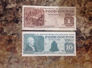 Real $1,  $10 Usda Food Stamp Coupons photo