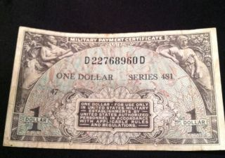 Us Military Payment Certificate 1951 One 1 Dollar Series 481 Sm26 Currency photo