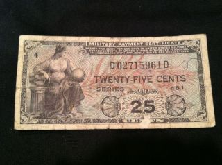 25 Twenty - Five Cents Us Military Payment Certificate Series 481 Kl M24 Currency photo