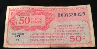 Military Payment Certificate Us 1947 Fifty 50 Cents Series 471 Kl M11 Currency photo