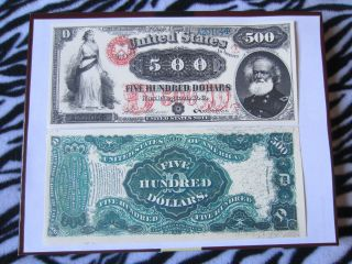 1878 Usa $500 Five Hundred Dollars Note Copy Replica photo