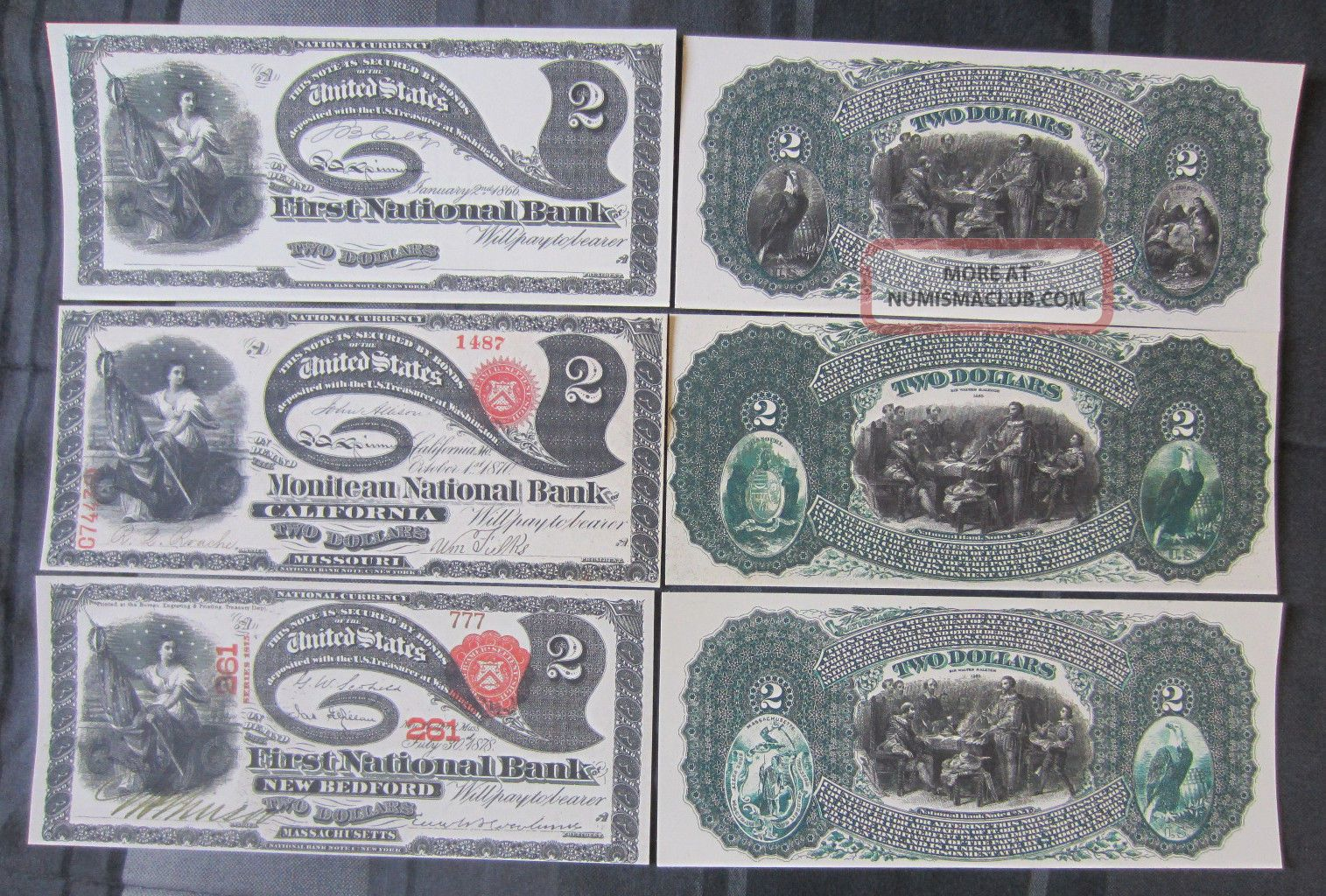 1866 1870 1878 $2 Two Dollars Note Copy Replicas National Currency Lazy Deuces Paper Money: US photo