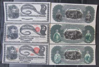 1866 1870 1878 $2 Two Dollars Note Copy Replicas National Currency Lazy Deuces photo