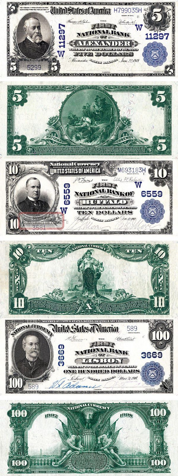 Series Of 1902 Usa $5 Five $10 Ten $100 One Hundred Dollars Copy Replicas Paper Money: US photo
