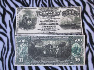 Series 1864 $500 Five Hundred Dollars Boston Note Copy Replica Reproduction photo