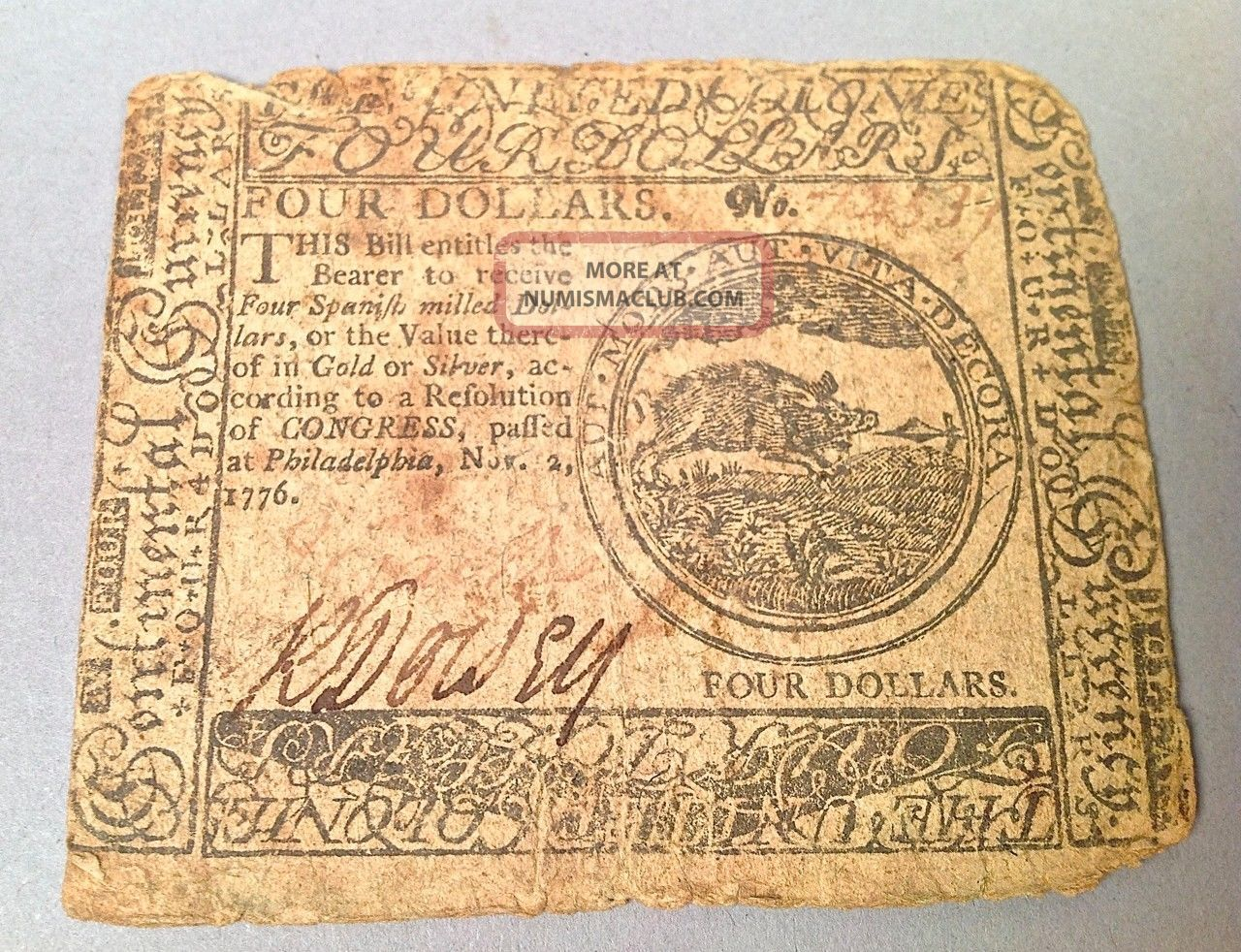 Continental Currency November 2,  1776 $4 Us Four Dollar Bill Signed C022 Paper Money: US photo