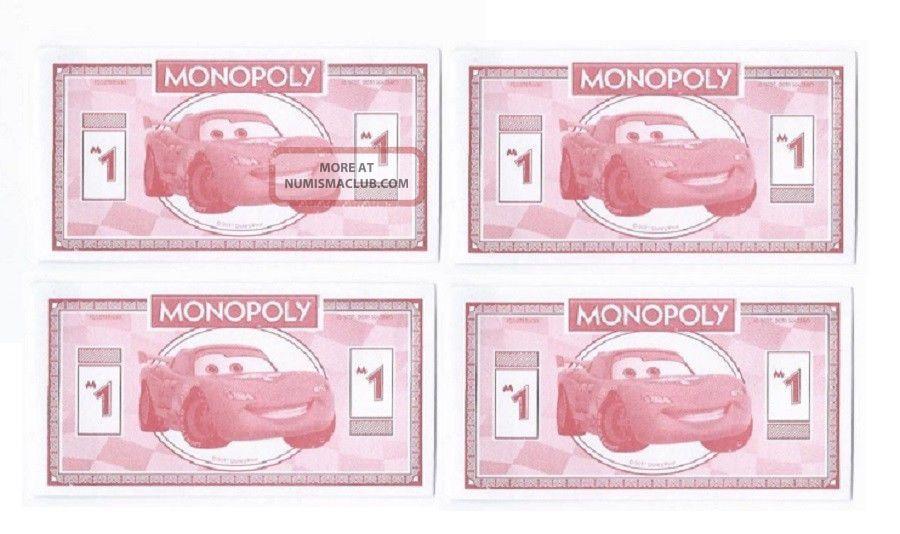 (4) 2011 Disney Cars Mini Bank Note Novelty Dollar Bills Play Money Paper Money: US photo