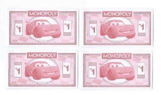 (4) 2011 Disney Cars Mini Bank Note Novelty Dollar Bills Play Money photo