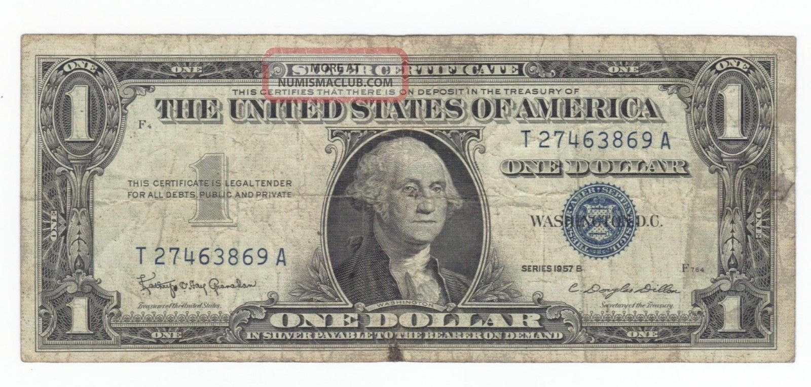 1957b Silver Certificate T27463869a One Dollar 1 00 Bill Blue Seal