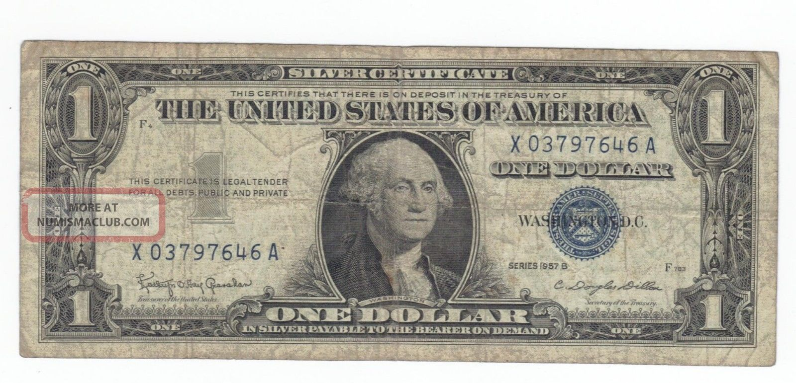 1957b Silver Certificate X03797646a One Dollar 1 00 Bill Blue Seal