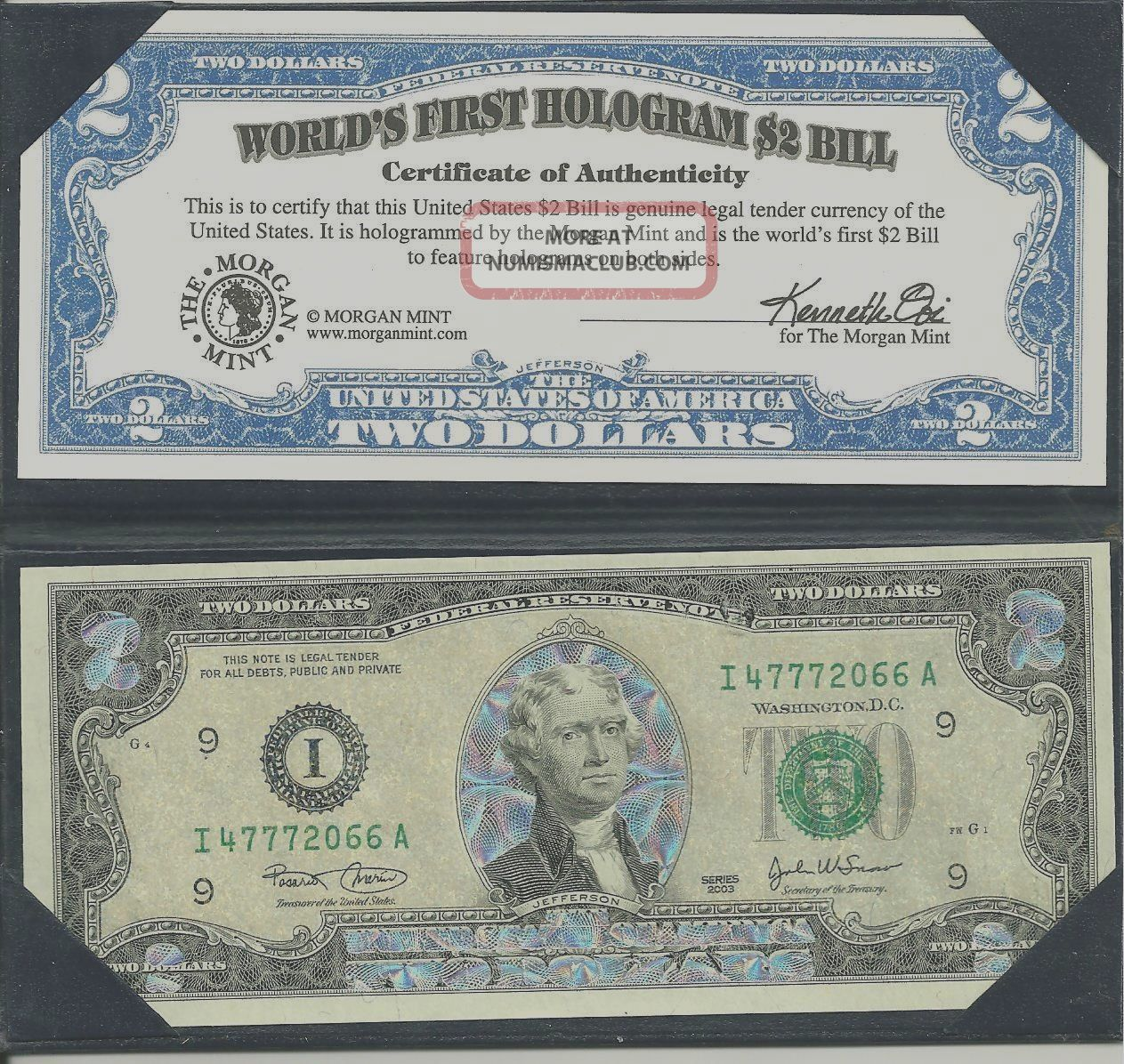 Worlds ' S First Hologran $2 Bill Paper Money: US photo