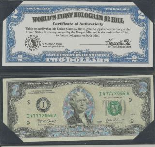 Worlds ' S First Hologran $2 Bill photo