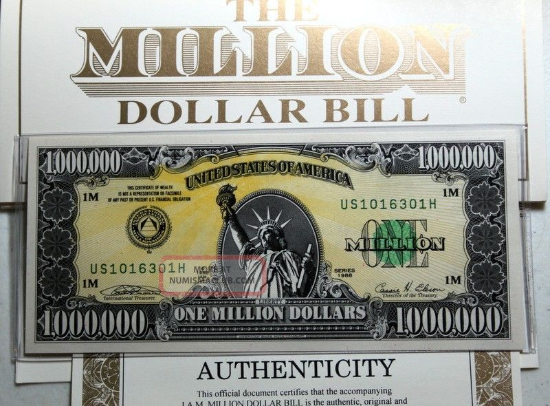 10 Authentic 1988 I.  A.  M.  One Million Dollar Bills All Paperwork Paper Money: US photo