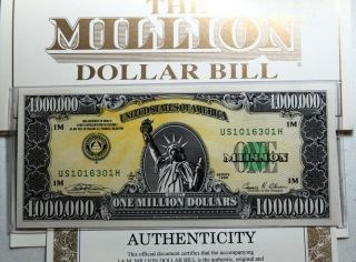 10 Authentic 1988 I.  A.  M.  One Million Dollar Bills All Paperwork photo