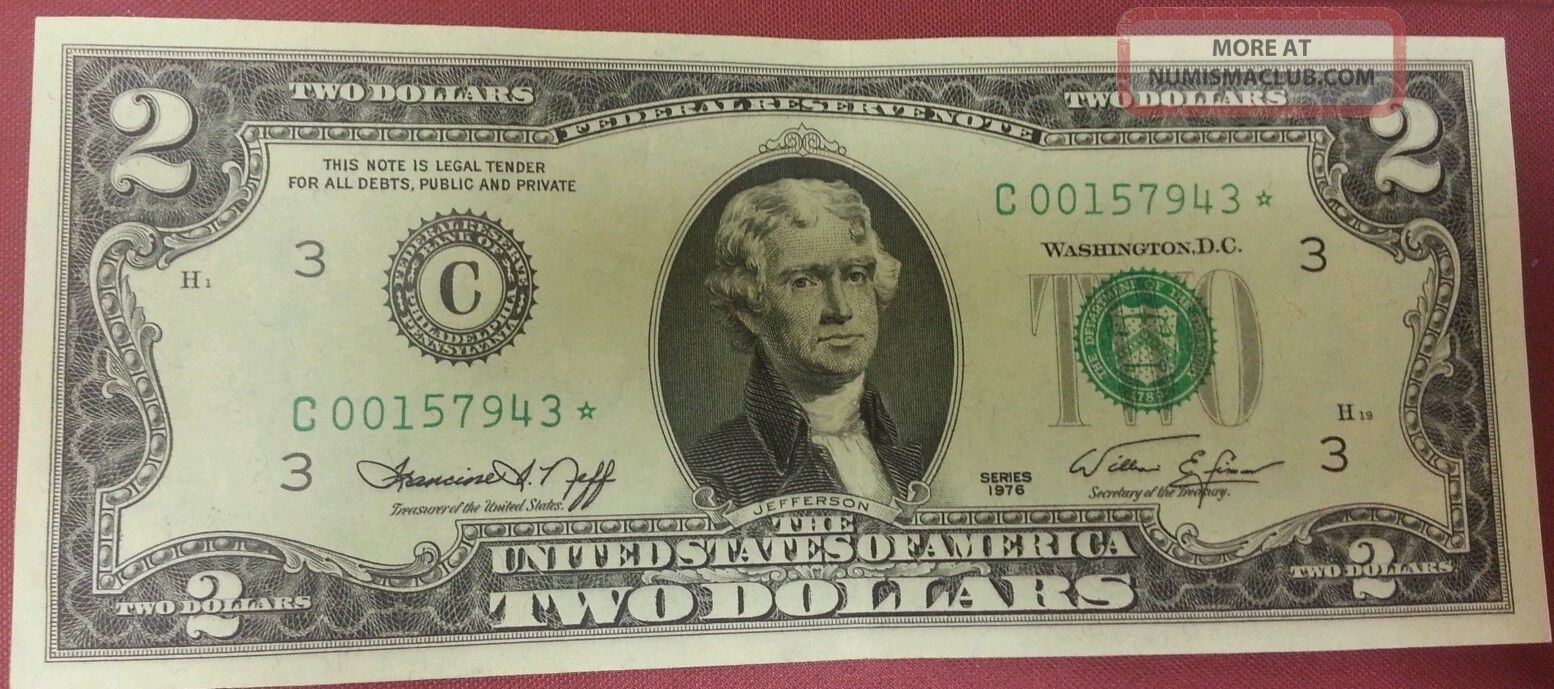 Vintage rare crisp 2 two dollar bill 1976 low number star note frn us 1betcityfo Choice Image