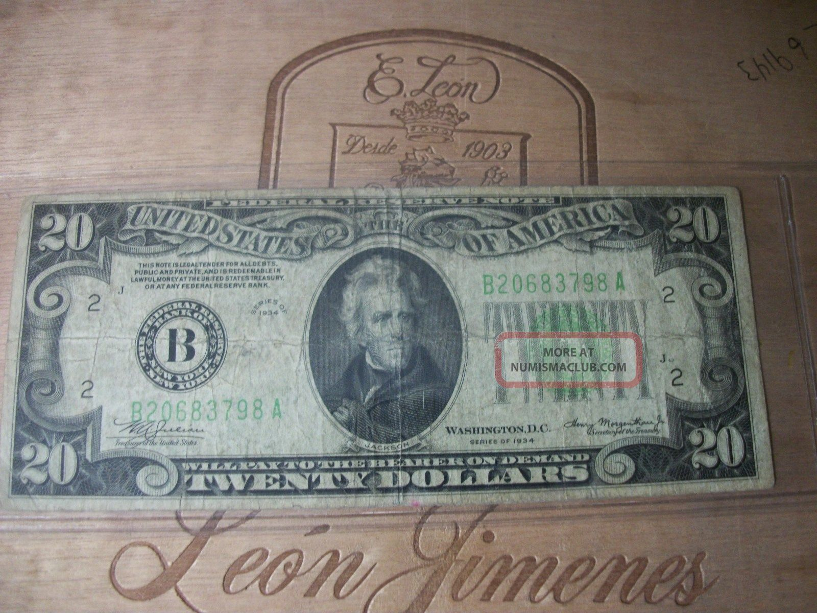 1934 Twenty Dollar Federal Reserve Note Small Size Notes photo