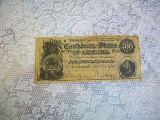 Confederate Reproduction $500 Currency photo