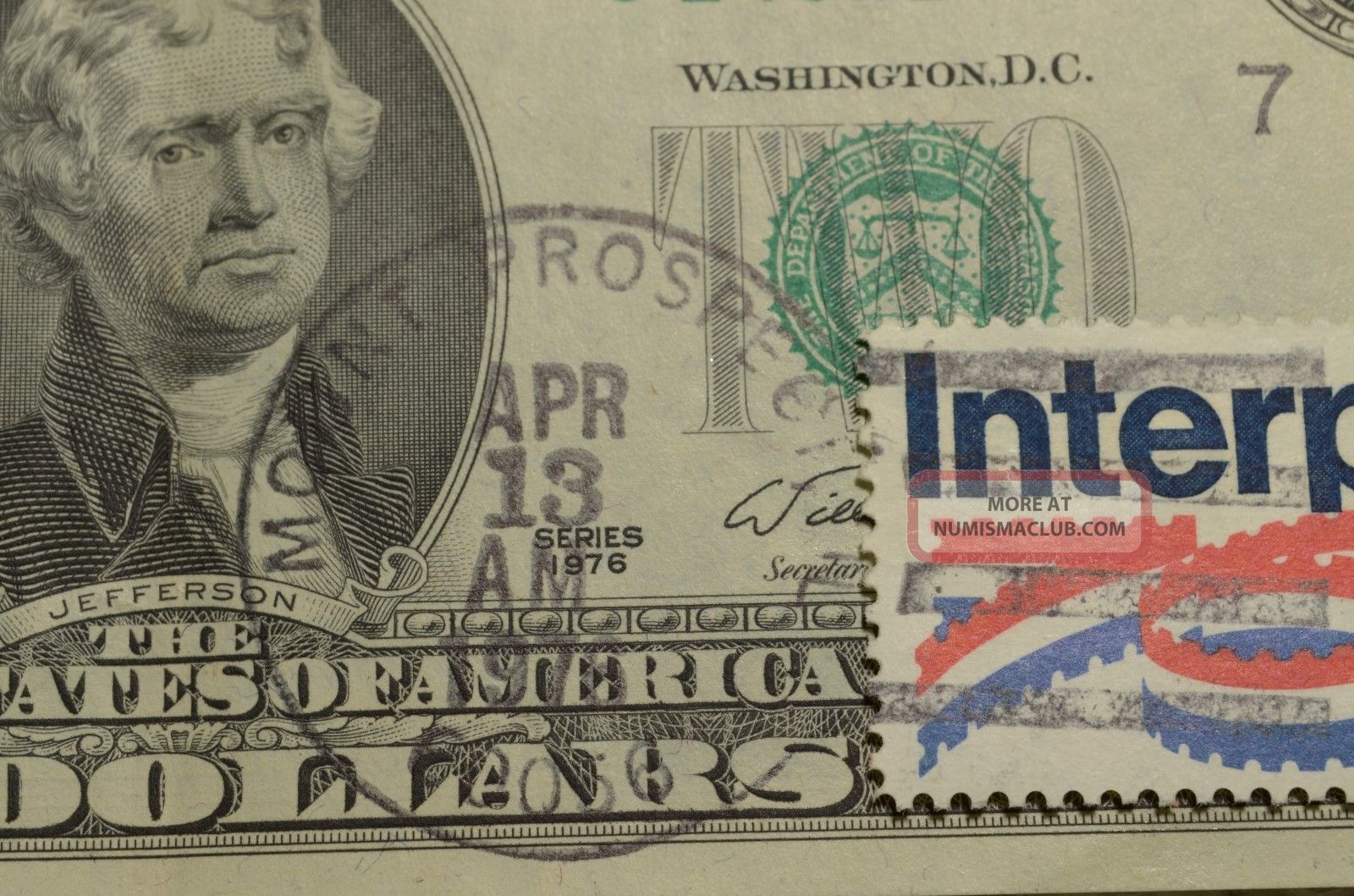 First Day Issue Green Seal Uncirc 2 Dollar Bill W Stamp Bi Centennial Mt Pros Il
