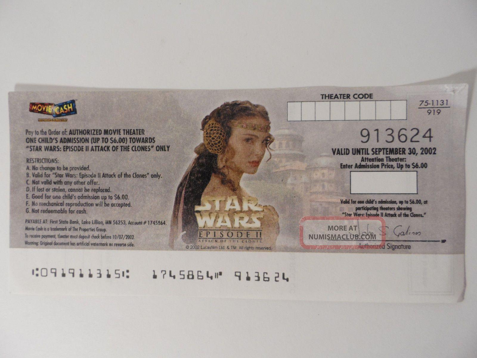 Star Wars Episode Ii Queen Amidala Movie Cash Expired Portman Us Paper Money: US photo