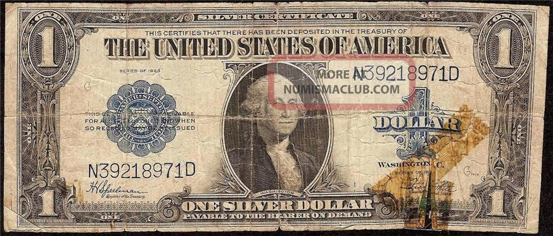 Large 1923 1 Dollar Bill Silver Certificate Note Us Currency Old