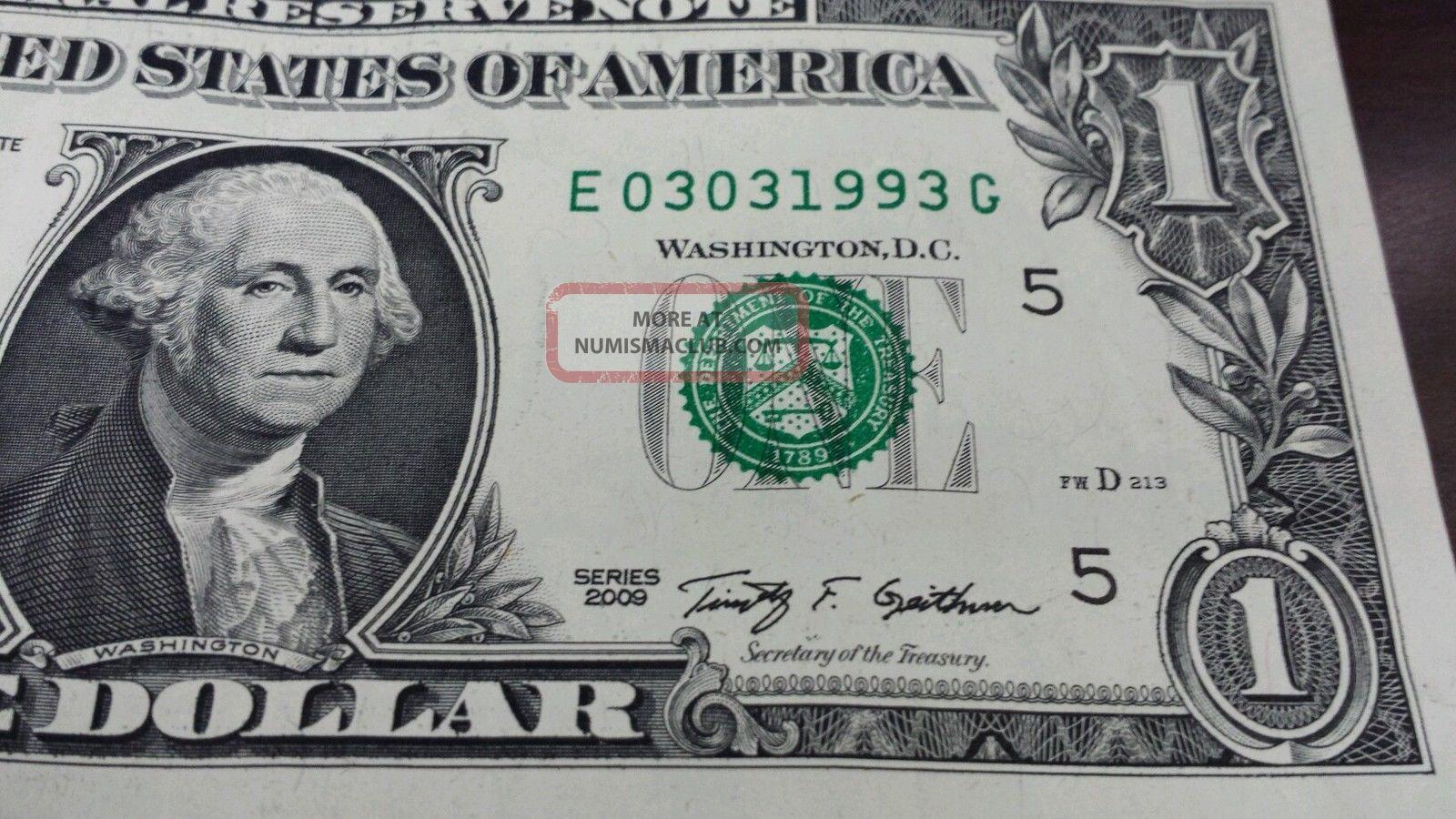 3 - 3 - 1993 Birthday Date 1 One Dollar Bill Series 2009