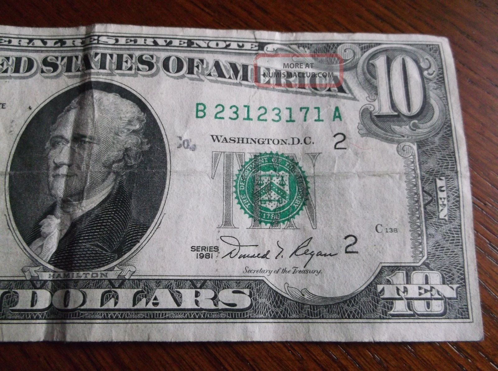 1981 10 Boston Repeater Serial Number Note Old Style Repeating Ten Dollar Bill