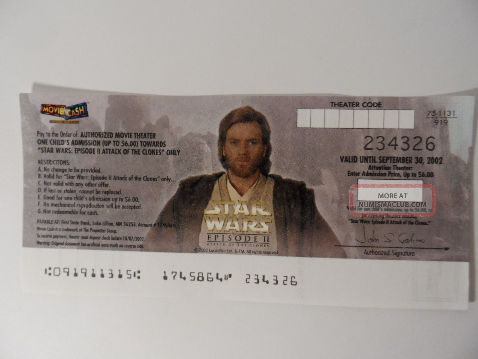 Star Wars Episode Ii Obi - Wan Kenobi Movie Cash Expired Rare Us Paper Money: US photo