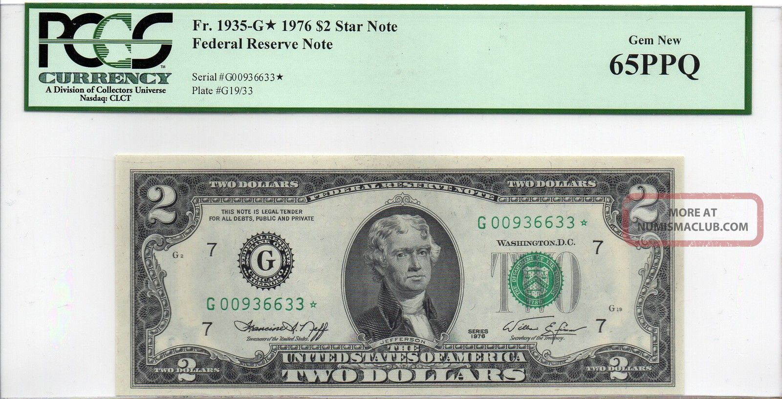 Federal Reserve $2 Series 1976 G Chicago Star Note Pcgs 65 Ppq Small Size Notes photo