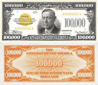 1934 $100,  000 One Hundred Thousand Dollars In Gold Copy Replica photo