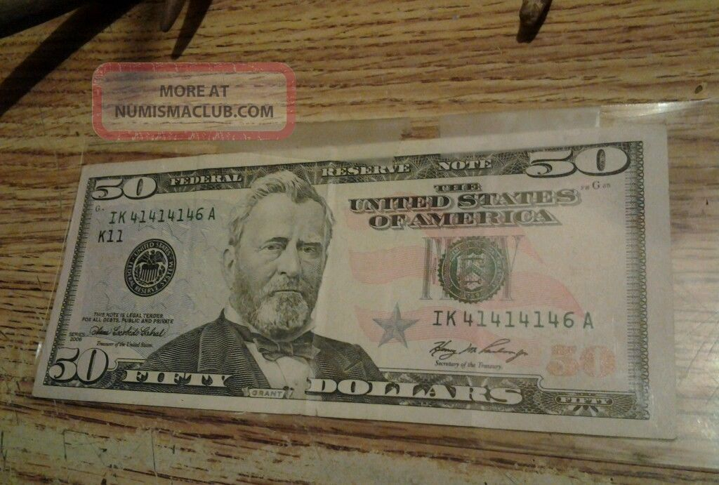 2006 - 50 - Dollar Bill - Rare - Repeter - Sereal 41414146 - Fresh - Cresp Bill Paper Money: US photo